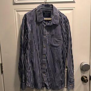 Men's blue striped dress shirt by AE